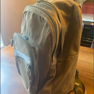 LL Bean Brown Canvas Backpack